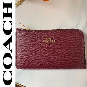 Coach red wine slim wallet coin purse credit card
